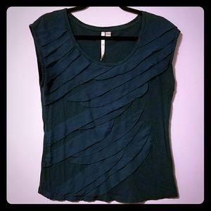 GUC Lauren Conrad teal green ruffle blouse, sz L